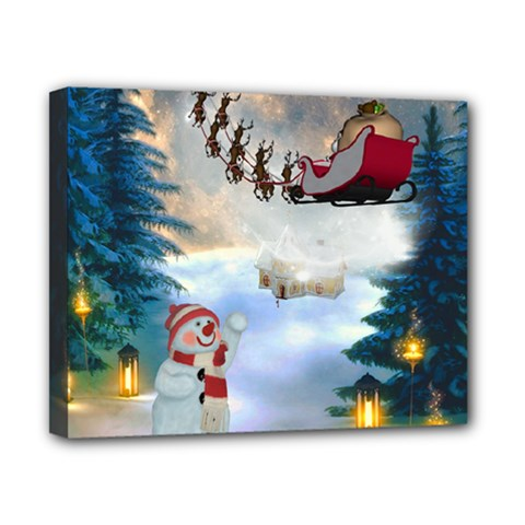 Christmas, Snowman With Santa Claus And Reindeer Canvas 10  X 8  by FantasyWorld7