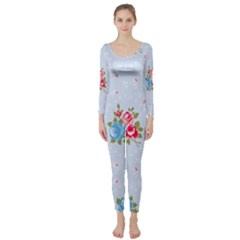 Cute Shabby Chic Floral Pattern Long Sleeve Catsuit by 8fugoso