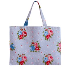 Cute Shabby Chic Floral Pattern Zipper Medium Tote Bag by 8fugoso
