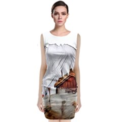 French Coffee Style Abstract Art Classic Sleeveless Midi Dress