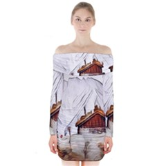 French Coffee Style Abstract Art Long Sleeve Off Shoulder Dress