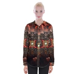 Wonderful Floral Design With Diamond Womens Long Sleeve Shirt by FantasyWorld7