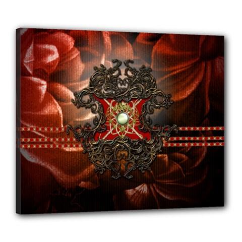 Wonderful Floral Design With Diamond Canvas 24  X 20  by FantasyWorld7
