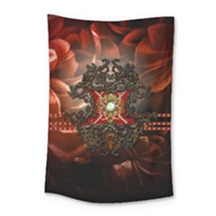 Wonderful Floral Design With Diamond Small Tapestry by FantasyWorld7