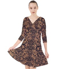 Damask2 Black Marble & Light Maple Wood (r) Quarter Sleeve Front Wrap Dress