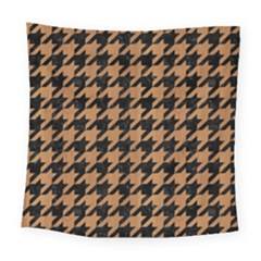 Houndstooth1 Black Marble & Light Maple Wood Square Tapestry (large) by trendistuff