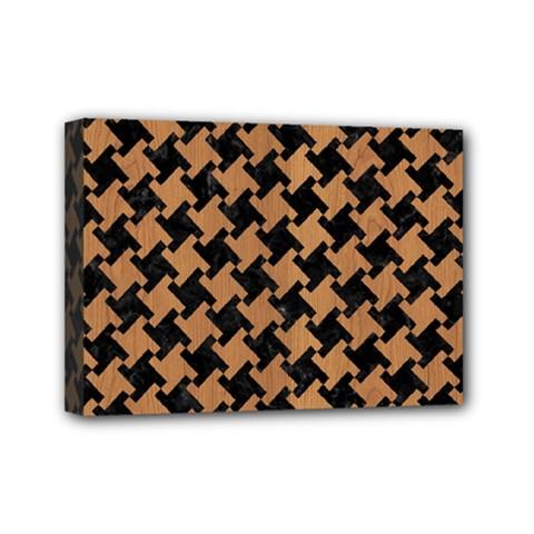 Houndstooth2 Black Marble & Light Maple Wood Mini Canvas 7  X 5  by trendistuff