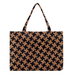 Houndstooth2 Black Marble & Light Maple Wood Medium Tote Bag by trendistuff