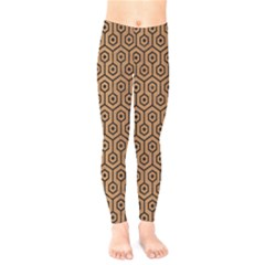 Hexagon1 Black Marble & Light Maple Wood (r) Kids  Legging by trendistuff