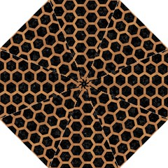 Hexagon2 Black Marble & Light Maple Wood Hook Handle Umbrellas (large) by trendistuff