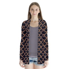 Scales1 Black Marble & Light Maple Wood Drape Collar Cardigan