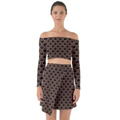 Scales2 Black Marble & Light Maple Wood Off Shoulder Top With Skirt Set