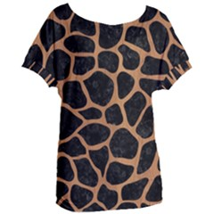 Skin1 Black Marble & Light Maple Wood (r) Women s Oversized Tee