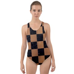 Square1 Black Marble & Light Maple Wood Cut Out Back One Piece Swimsuit