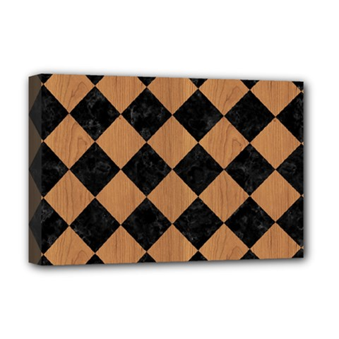 Square2 Black Marble & Light Maple Wood Deluxe Canvas 18  X 12   by trendistuff