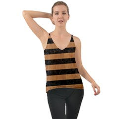 Stripes2 Black Marble & Light Maple Wood Cami