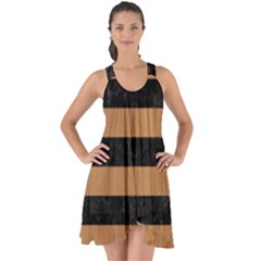 Stripes2 Black Marble & Light Maple Wood Show Some Back Chiffon Dress by trendistuff