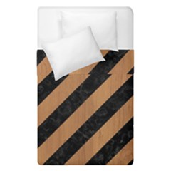 Stripes3 Black Marble & Light Maple Wood Duvet Cover Double Side (single Size) by trendistuff