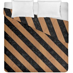 Stripes3 Black Marble & Light Maple Wood (r) Duvet Cover Double Side (king Size) by trendistuff