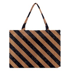Stripes3 Black Marble & Light Maple Wood (r) Medium Tote Bag by trendistuff