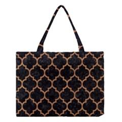 Tile1 Black Marble & Light Maple Wood Medium Tote Bag by trendistuff