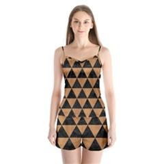 Triangle3 Black Marble & Light Maple Wood Satin Pajamas Set