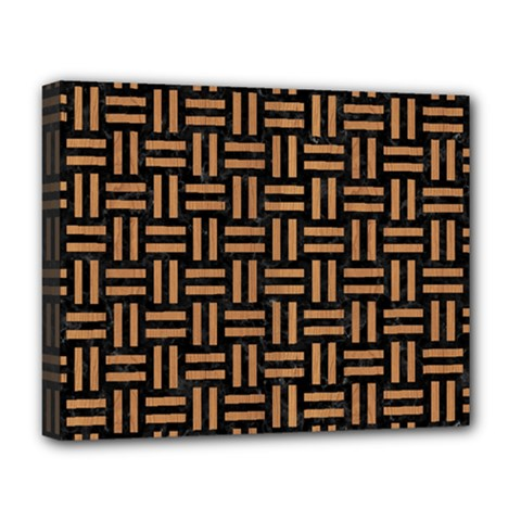 Woven1 Black Marble & Light Maple Wood Deluxe Canvas 20  X 16   by trendistuff