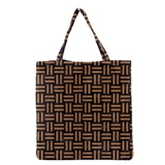 Woven1 Black Marble & Light Maple Wood Grocery Tote Bag by trendistuff