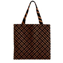 Woven2 Black Marble & Light Maple Wood Zipper Grocery Tote Bag