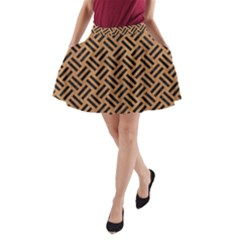 Woven2 Black Marble & Light Maple Wood (r) A Line Pocket Skirt by trendistuff