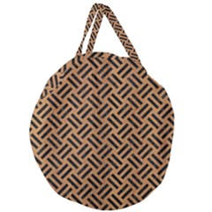 Woven2 Black Marble & Light Maple Wood (r) Giant Round Zipper Tote