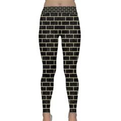 Brick1 Black Marble & Light Sand Classic Yoga Leggings by trendistuff