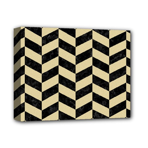 Chevron1 Black Marble & Light Sand Deluxe Canvas 14  X 11  by trendistuff
