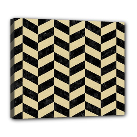 Chevron1 Black Marble & Light Sand Deluxe Canvas 24  X 20   by trendistuff