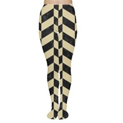 Chevron1 Black Marble & Light Sand Women s Tights by trendistuff