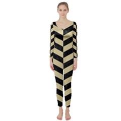 Chevron1 Black Marble & Light Sand Long Sleeve Catsuit by trendistuff