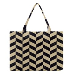 Chevron1 Black Marble & Light Sand Medium Tote Bag by trendistuff