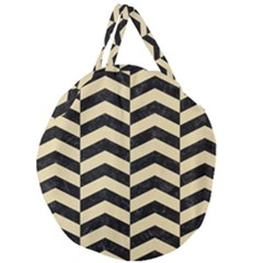 Chevron2 Black Marble & Light Sand Giant Round Zipper Tote by trendistuff