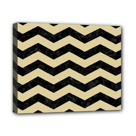 Chevron3 Black Marble & Light Sand Canvas 10  X 8  by trendistuff