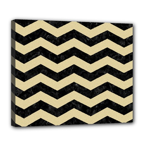 Chevron3 Black Marble & Light Sand Deluxe Canvas 24  X 20   by trendistuff