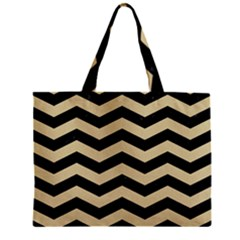 Chevron3 Black Marble & Light Sand Zipper Mini Tote Bag by trendistuff