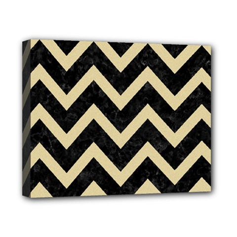 Chevron9 Black Marble & Light Sand Canvas 10  X 8  by trendistuff