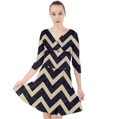 Chevron9 Black Marble & Light Sand Quarter Sleeve Front Wrap Dress