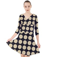 Circles1 Black Marble & Light Sand Quarter Sleeve Front Wrap Dress