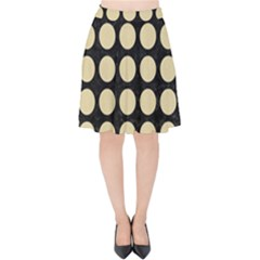 Circles1 Black Marble & Light Sand Velvet High Waist Skirt by trendistuff