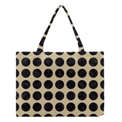 Circles1 Black Marble & Light Sand (r) Medium Tote Bag by trendistuff
