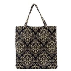 Damask1 Black Marble & Light Sand Grocery Tote Bag by trendistuff
