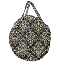Damask1 Black Marble & Light Sand Giant Round Zipper Tote by trendistuff