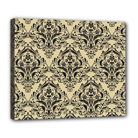Damask1 Black Marble & Light Sand (r) Deluxe Canvas 24  X 20   by trendistuff