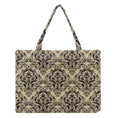 Damask1 Black Marble & Light Sand (r) Medium Tote Bag by trendistuff